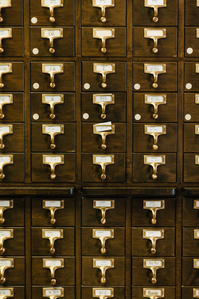 Library card catalog drawers